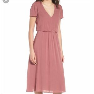 WAYF Blousan pink midi dress XL